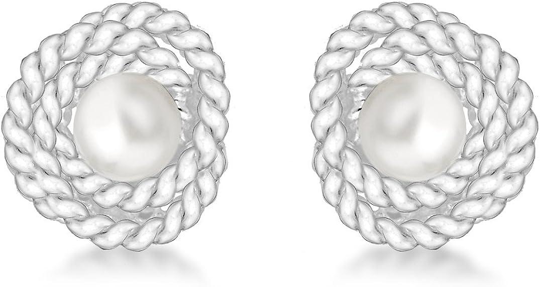 Tuscany Silver 8.58.8019 - Pendientes de plata con perla