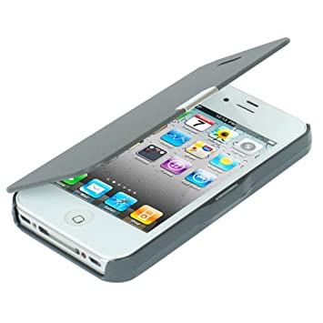 MTRONX para Funda iPhone 4s, Funda iPhone 4, Cover Case Carcasa Caso Ultra Folio Flip Cuero Delgado Piel Tela Asargada Cierre Magnetico Parachoque ...