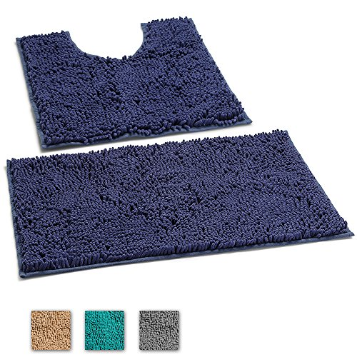 LuxUrux 2 Piece Bath Mat Set –Extra-Soft Plush Non-Slip Bath Shower Bathroom Rug + U-Shaped Toilet Mat. 1'' Microfiber Material., TPR Surface, Super Absorbent. Machine Wash & Dry (NAVY BLUE)