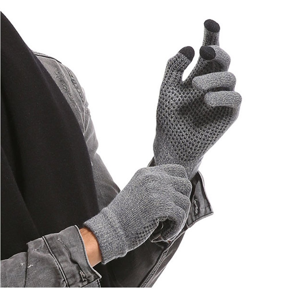 Non-Slip Touchscreen Gloves Winter Warm Knit Touch Screen Wool Glove (B)