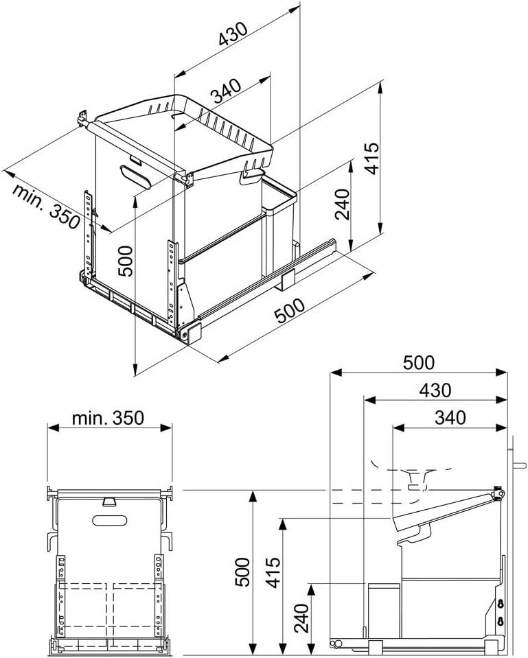Naber M/üllex Oekonom 35 2 2nd cubo de la basura antracita.