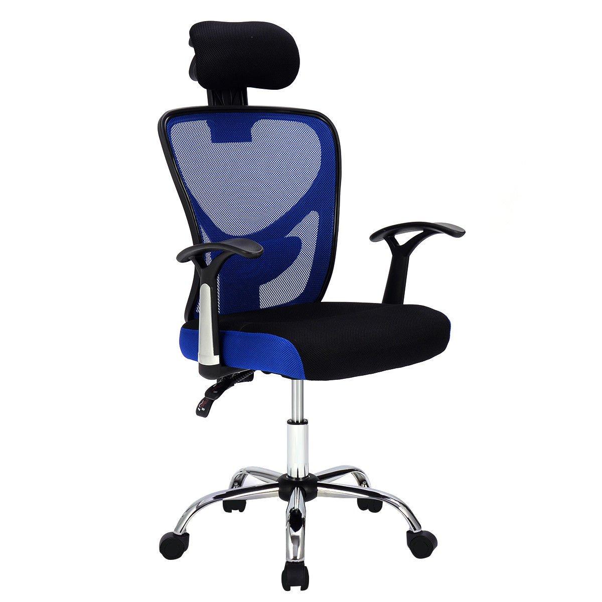 Giantex Executive Office Chair Mesh High Back Home Adjustable Swivel Ergonomic Computer Desk Chair with Headrest (Blue)