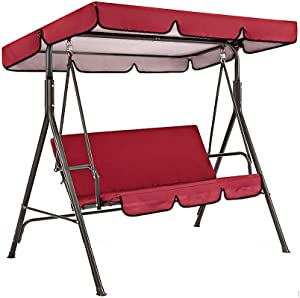 Patio Canopy Swing Replacement Top Cover + Cushion Cover Replacement Waterproof Replacement Porch Top Cover Patio Swing Seat Cover Swing Chair Cushion Cover, Red