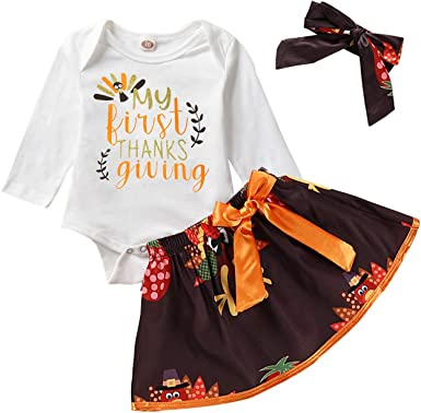 USA Baby Girls First Thanksgiving Turkey Tops Romper Bodysuit Tutu Dress Outfits