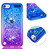 for ipod Touch 5/Touch 6 Case Glitter Liquid and Screen Protector,QFFUN Bling Sparkle Quicksand Gradient Colors Design Shiny Diamond Frame Clear Slim Fit Protective Phone Case Bumper - Blue and Purple