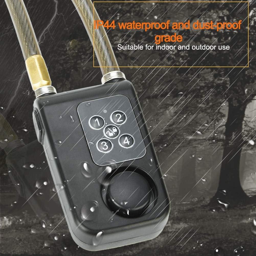 Wireless Alarm Lock 115dB Bicycle Bike Motorcycle IP55 Waterproof Dust-Proof Security Lock with Steel Cable Chain Keyless Password or Remote Control for Indoor /& Outdoor Use. Hakeeta Alarm Bike Lock