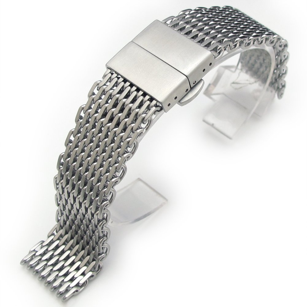 20mm Ploprof 316 SS Wire ''SHARK'' Mesh Milanese Watch Band, Deployant Clasp, Brushed, BB