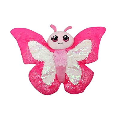 Sequinimals Sequin Pink Butterfly Plush Stuffed Animal Reversible Sequins Hot Pink & Silver: Toys & Games