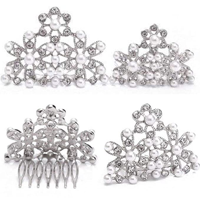 Vintage Style Jewelry, Retro Jewelry Utopiat Audrey Hepburn Breakfast at Tiffanys Pearl Tiara Comb Hair Piece Vintage Costume Silver One Size $19.99 AT vintagedancer.com