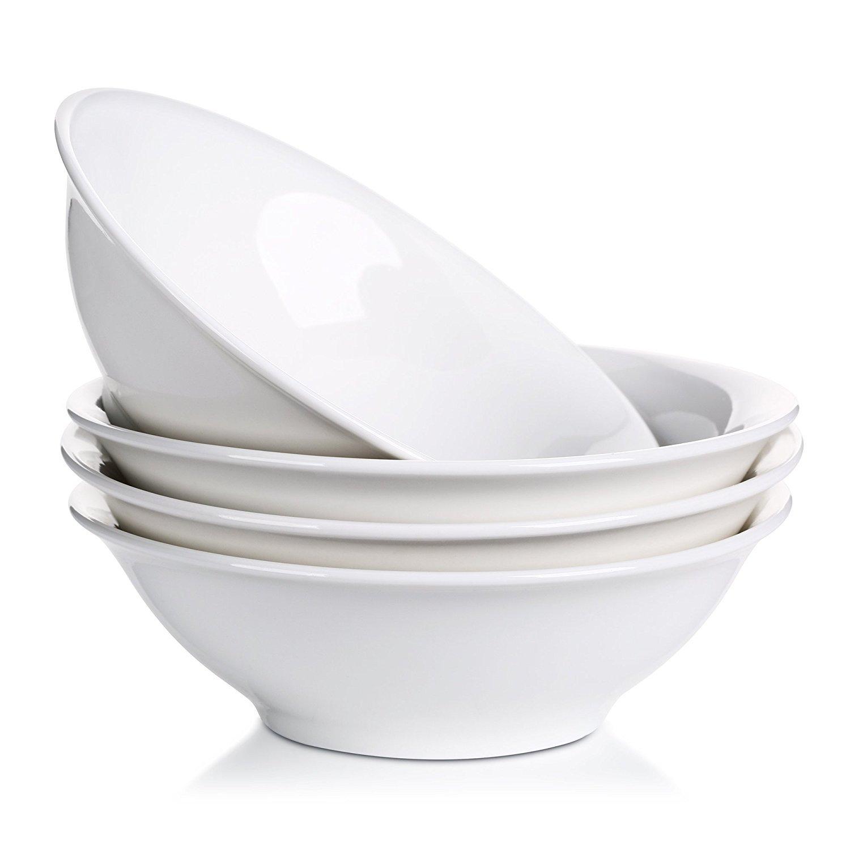 Lifver 48-oz/9-inch Porcelain Serving/Soup/Salad/Cereal/Pasta Bowl Sets, Natural White, Set of 4