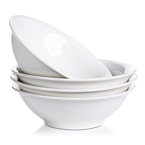Lifver 800ml Porcelain Céréales/Soupe / Bol de Nouilles, Blanc Naturel, Set de 4