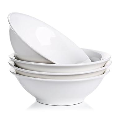 LIFVER 48-oz/9-inch Porcelain Bowls Set, Soup/Pasta/Salad/Cereal Bowls, Natural White, Set of 4