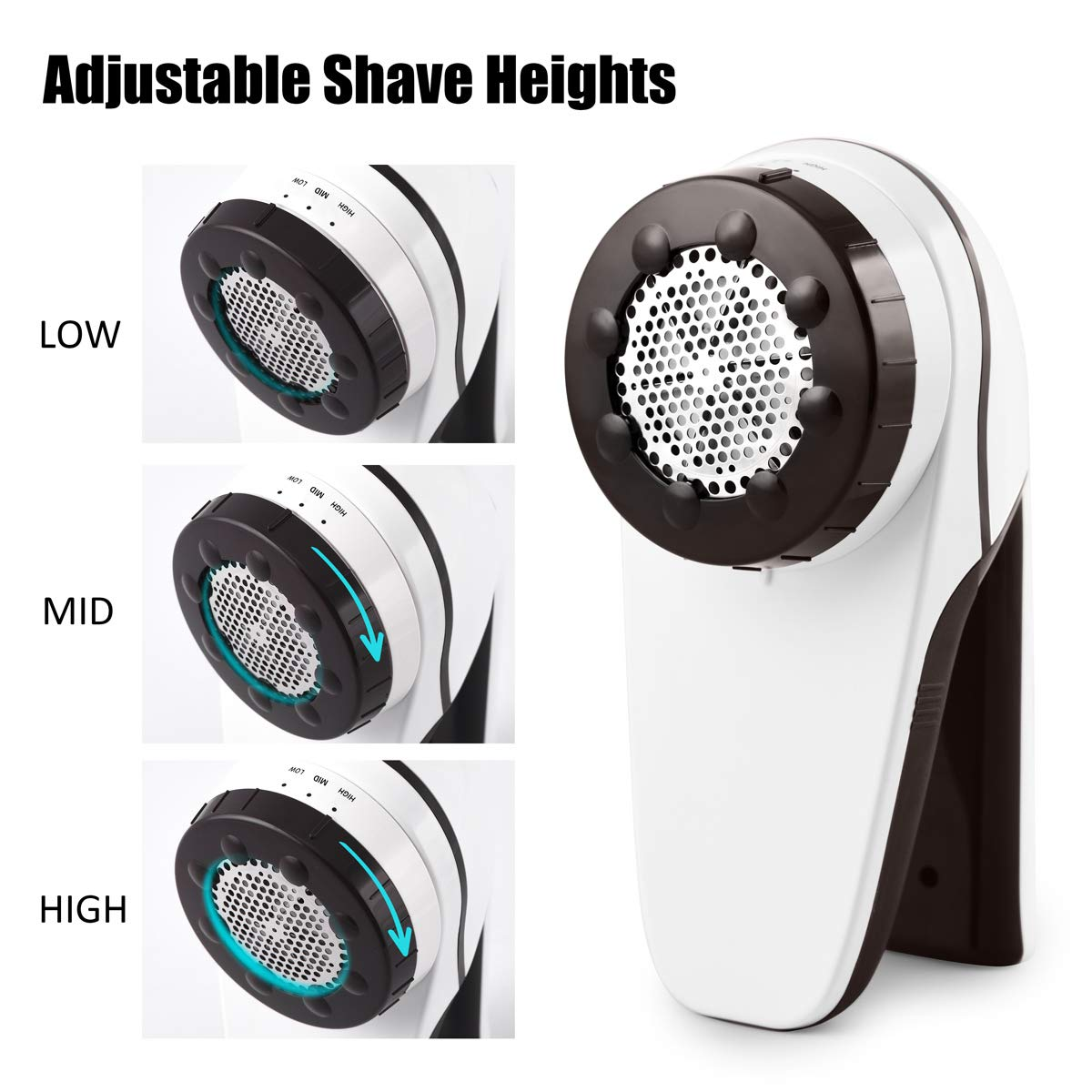 ANVS Professional USB Rechargeable Fabric Shaver and Lint Remover with 3-Adjustable Shave Height for Your Clothes, Sofa, Sheets, Curtain, 1 Extra Replaceable Shave Blade Included by ANVS (Image #3)