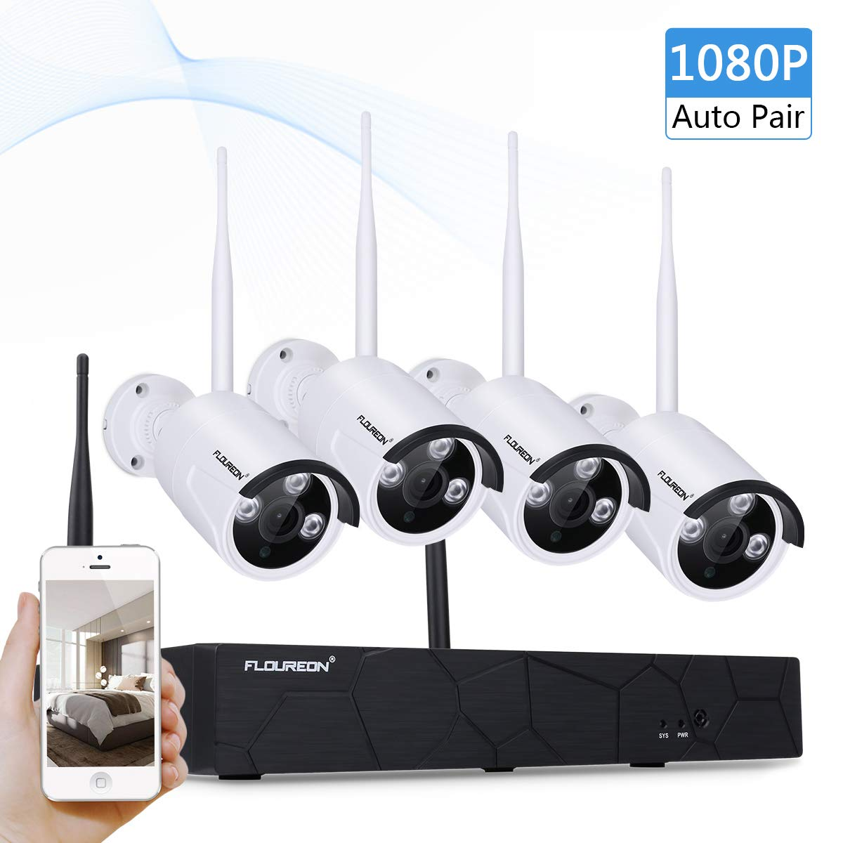 FLOUREON WiFi 1080P Ü berwachungkamera Set 4CH NVR Videorecorder P2P H.264 + 4X 720P WLAN Ü berwachungskamera Wasserdicht Sicherheitskamera Nachsicht Auß en