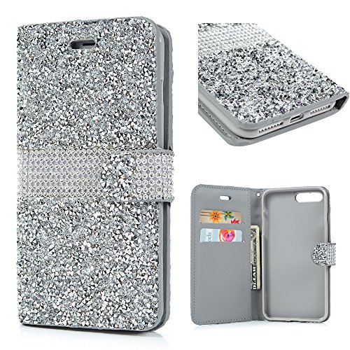 MOLLYCOOCLE iPhone 7 Plus Case, iPhone 8 Plus Case, Handcraft Luxury 3D Bling Rhinestone PU Leather Wallet Case Flip Magnetic Bling Button Closure Protective Cover for iPhone 7 Plus, 8 Plus, Silver
