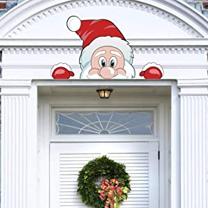 CCINEE Christmas Santa Claus Face Outdoor Decoration with Hat Archway Fireplace Garage Door Decor for Party Supply