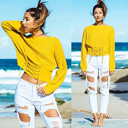 Longues Casual Cardigan Pull Chandail Loose Ultra Chandail Blouse Elegant Sweater Femmes Blouson Tricot Automne Bandage Reaso Jaune Manches Pullover Hiver Tricoter dIqYTTw
