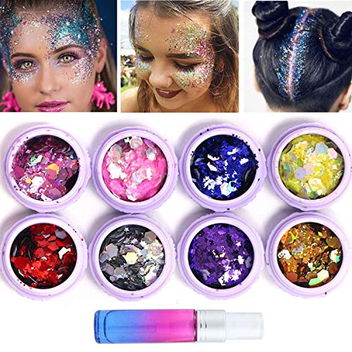 Holographic Body Glitter Tattoos 8 Boxes Chunky Face Glitter Set with Long Lasting Spray Fix Gel, Festival Party Makeup Body Art Perfect Blend of Glitters for Hair, Face, Eyeshadow, Nail
