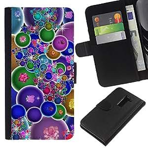 KingStore / Leather Etui en cuir / LG G2 D800 / Burbujas coloridas Wallpaper Bling neón Flores
