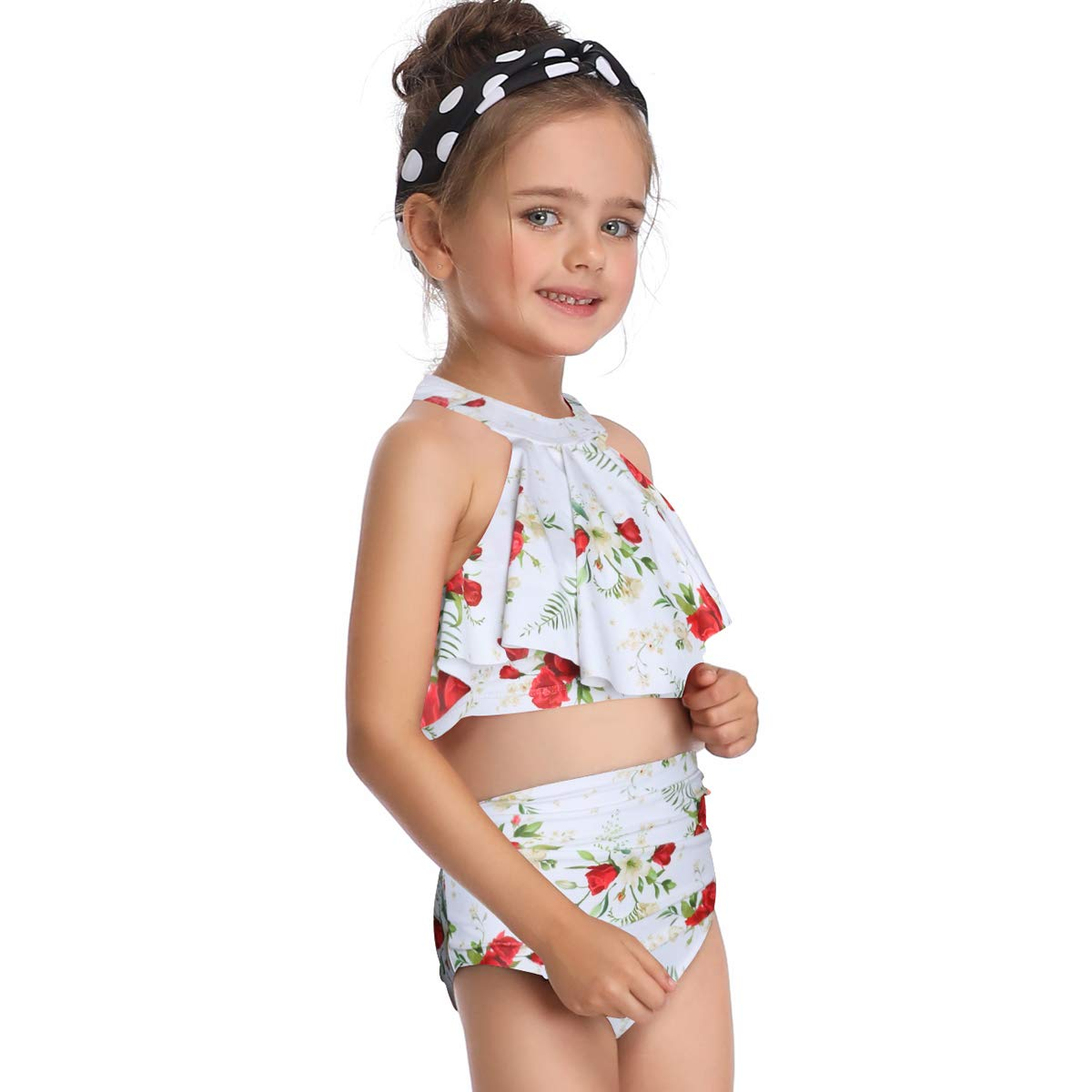 Uhnice Girls Swimsuits Mother and Daughter Swimwear Two Pieces Bikini Set