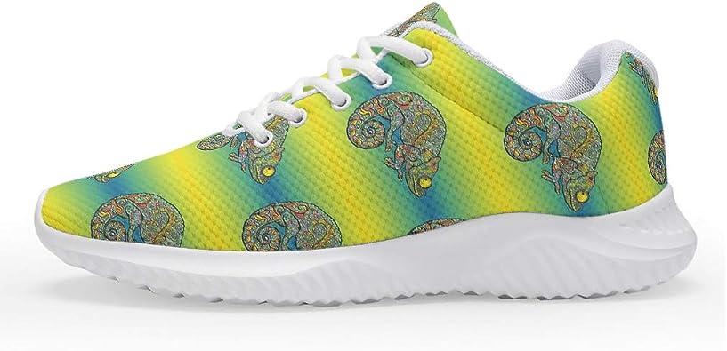 Wraill - Zapatillas de Running para Hombre y Mujer, diseño de Lagarto, Color Amarillo y Verde: Amazon.es: Zapatos y complementos