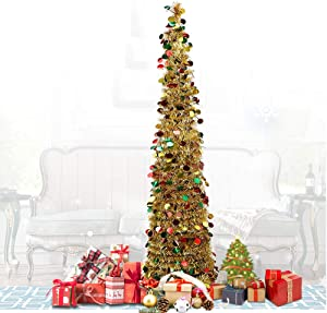 QTIVY 5 Foot Pop Up Christmas Trees with Shiny Gold Color Pieces Collapsible Easy-Assembly Artificial Tinsel Tree for Home & Party & Office & Fireplace Décor (5FT POP Gold Color)