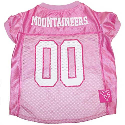 NCAA WEST VIRGINIA UNIVERSITY Dog Pink Jersey, Small. - Pet Pink Outfit.