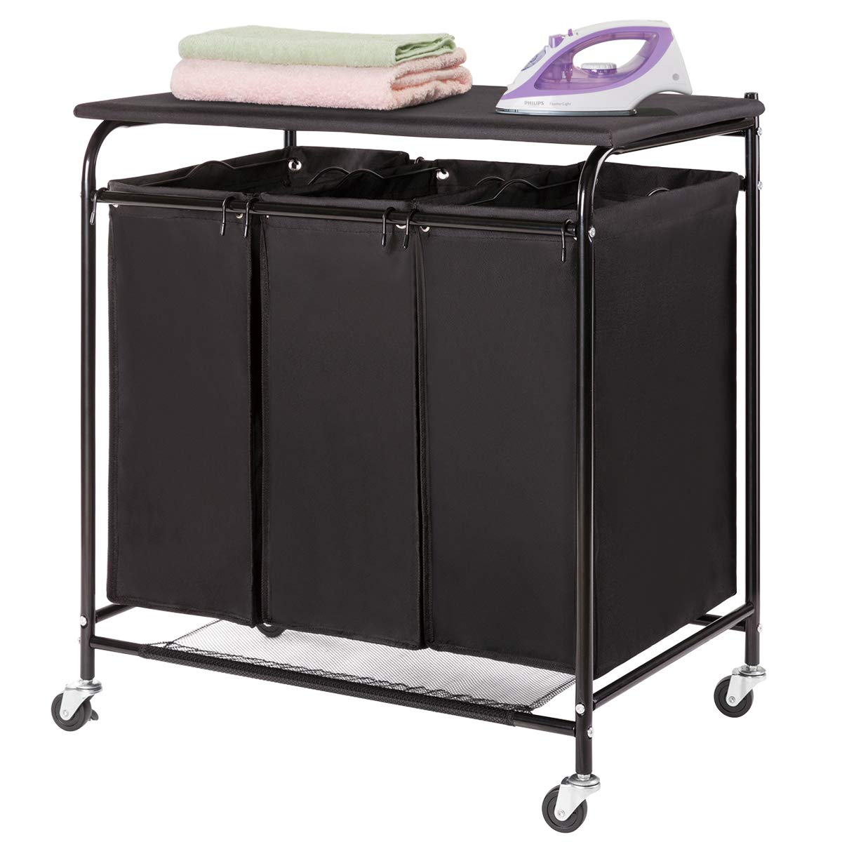 HollyHOME Laundry Sorter Cart with Foldable Ironing Board with 3 Lift-Off Bags Rolling Heavy-Duty Laundry Hamper with Removable Bags Mobile Brake Caster Black