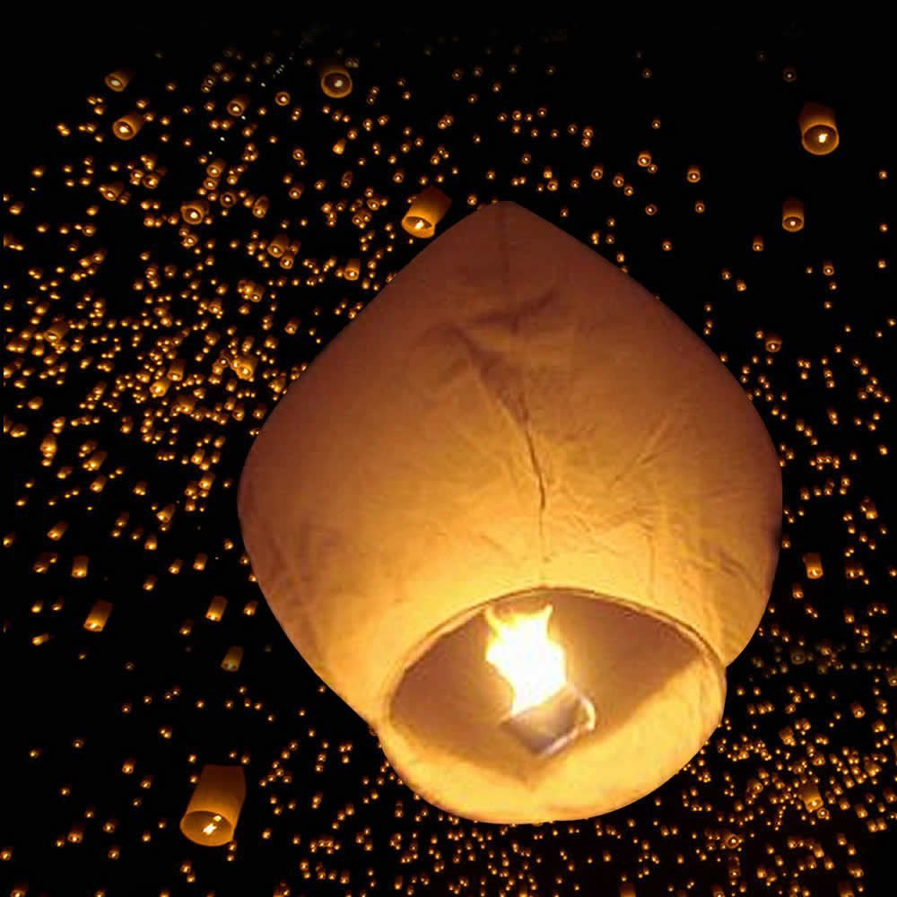 Z ZTDM 50 Pack Fire Sky Lanterns Chinese Paper Sky Flying Wishing Lantern Lamp Candle Party Wedding Wish (Kongming Wish Lanterns) (White)