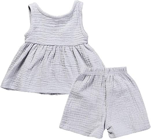 2PCS Toddler Kids Baby Girl Cotton Linen Floral T-shirt Tops Shorts Outfits Set