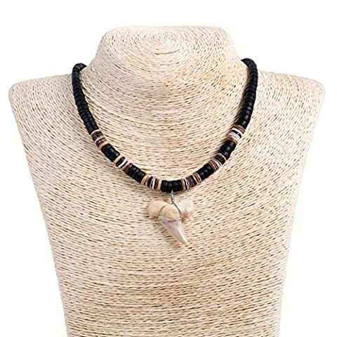 Shark Tooth Pendant on Graduated Black Coconut Wood Beaded Necklace with Oyster Shell Beads (3S Shark - Coconut Shell Pendant
