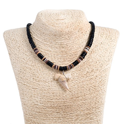 Shark Tooth Pendant on Graduated Coco Wood Necklace with Oyster Shell (3S Shark Tooth) (Black)