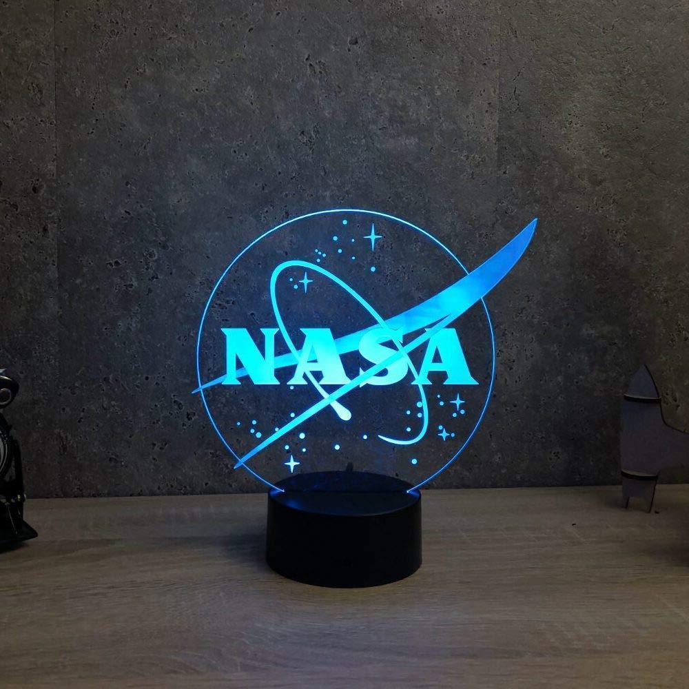Lampe NASA personnalisable illusion led - Fabriquée en France - Lampe de table - Lampe veilleuse - Lampe d'ambiance