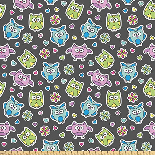 Ambesonne Owls Fabric by The Yard, Cute Cartoon Animals with Flowers and Hearts Doodle Style Flora and Fauna Pattern, Microfiber Fabric for Arts and Crafts Textiles & Decor, 1 Yard, Multicolor