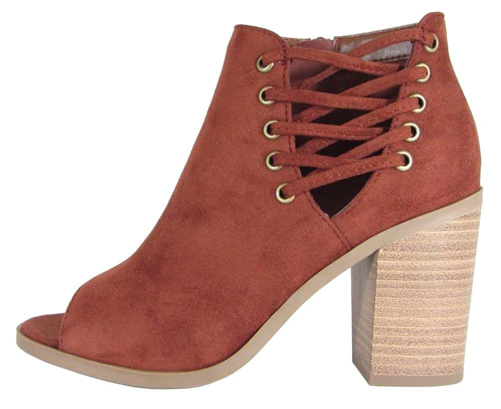 Cambridge Select Women's Open Toe Corset Side Lace-Up Chunky Stacked Block Heel Ankle Bootie (9 B(M) US, Dark Rust IMSU)