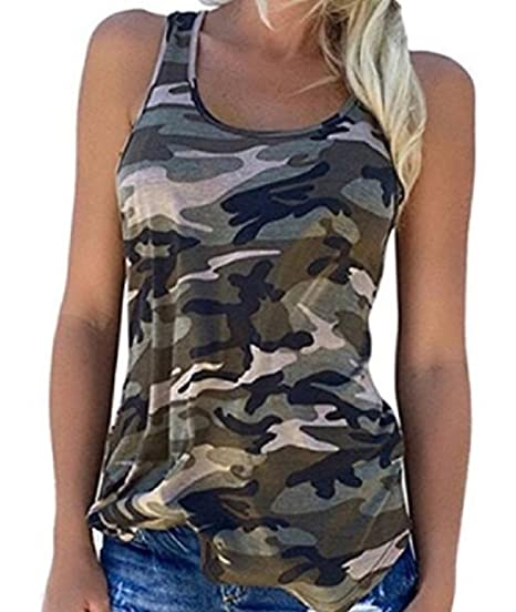 49f3290a0064e Rexury Women's Casual Sleeveless Camouflage Tank Tops Vest Camo Shirts Plus  Size