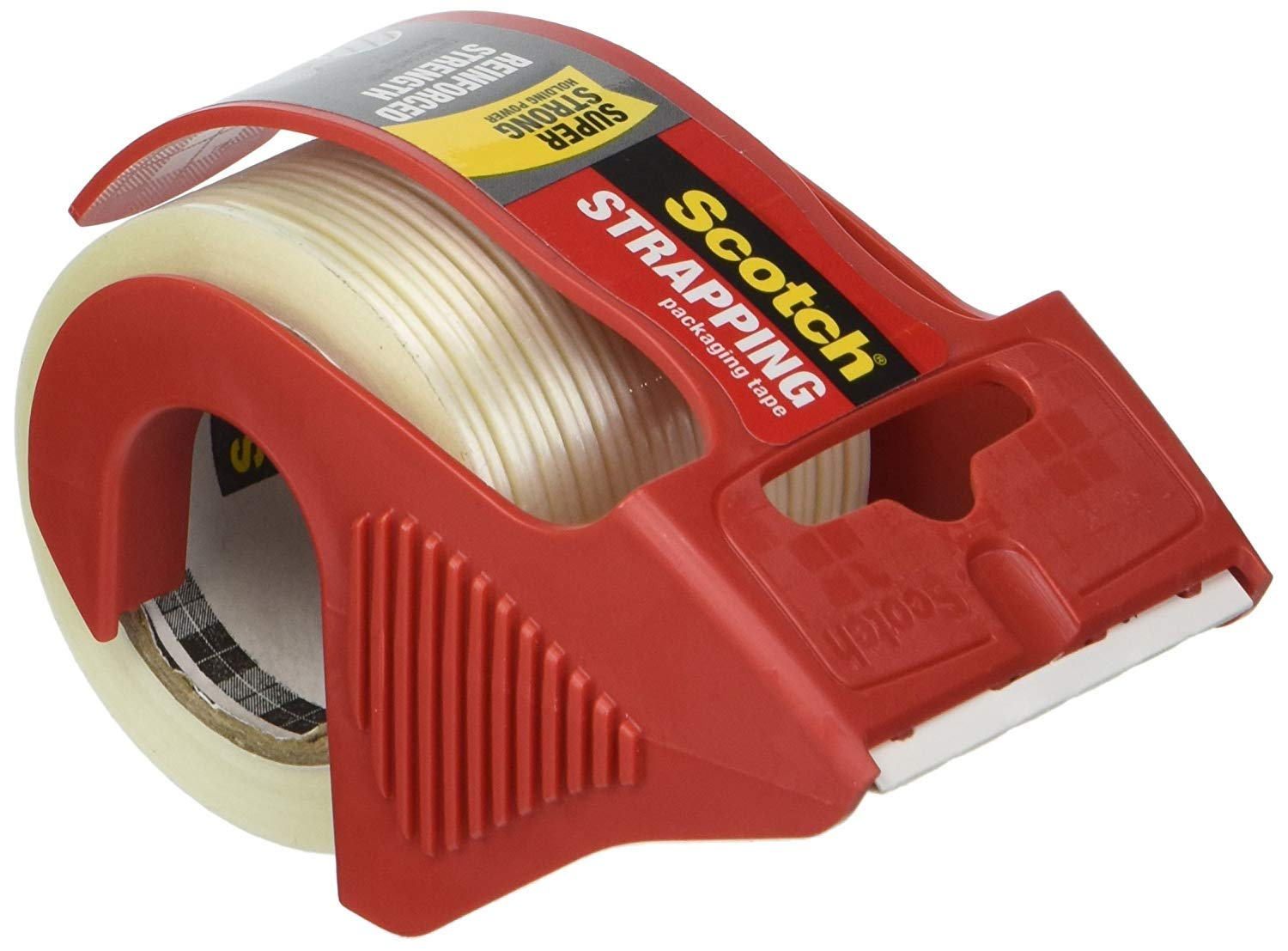 Scotch MMM50 Reinforced Strength Shipping and Strapping Tape in Dispenser, Red, 18 Pack by Scotch Brand