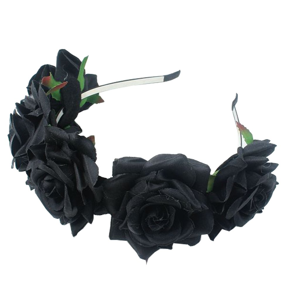 Black flower headband amazon sztara girl bride rose flower crown wedding festival headband hairband floral garland headpiece izmirmasajfo