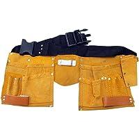 Werkzeuggürtel aus Leder mit 11 Taschen Werkzeug-Gürtel (mit Messertasche, Nageltasche, Hammerhalter + Gürtel aus Nylon)