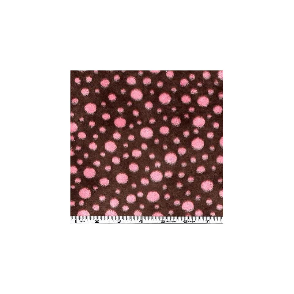 60 Wide Minky Cuddle Polka Dots Brown/Hot Pink Fabric By The Yard