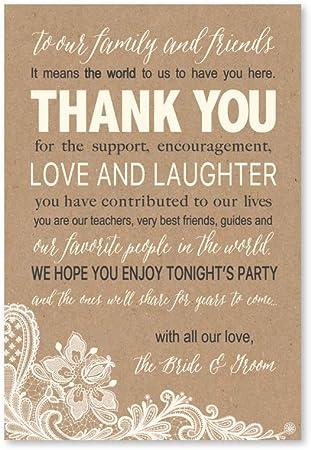 50 boda gracias tarjetas de lugar Kraft, ensayo cena mesa con signo de gracias, Menú ajuste de lugar tarjeta notas, colocación gracias Nota Favors para familia & Guests: Amazon.es: Oficina y papelería