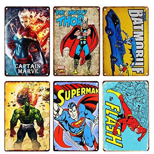 (TISOSO Vintage Superhero Tin Sign Bundle the Michty Thor,TSN1959 the Flash,Captain Marve,the Incredible Hulk,Superman,Batman Marvel Comics Distressed Christmas Retro Metal Wall Decor Gift for Kids 6pc)