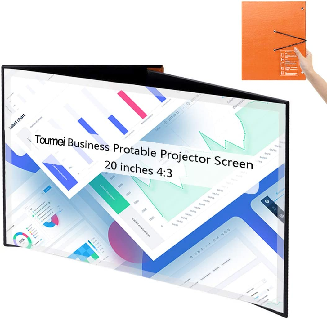 Portable Projector Screen TOUMEI 20 inch Mini Size Book Screen 4:3 Desktop Foldable Projection Screen PVC Fabric for Pico DLP Projector Home Commercial Session Outdoor Indoor Meeting Teaching Theater