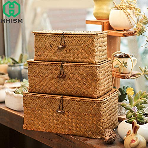   Storage Baskets   Woven Storage Basket with Lid Rattan Sundries Storage Box Wicker Basket Handmade Sorting Boxes Seagrass Jewelry Organizer   by HERIUS -