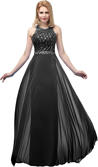 4d6758645f7 Callmelady High Neck Chiffon Prom Dresses Long Evening Gowns with Open Back  (Black