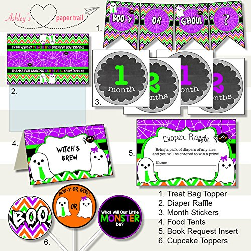 Halloween Boo-y or Ghoul Gender Reveal Party Decor Package - Digital Files on CD or Prints (Halloween Decoration Ideas For Cupcakes)