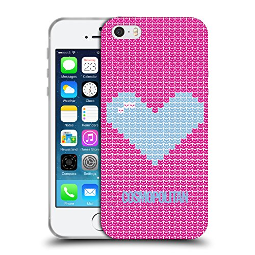 Official Cosmopolitan Sky Blue On Pink Pixel Heart Lovey Soft Gel Case for Apple iPhone 5 / 5s / SE