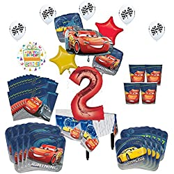 Mayflower Products Disney Cars 2nd Birthday Party Supplies 8 Guest Kit and Balloon Bouquet Decorations