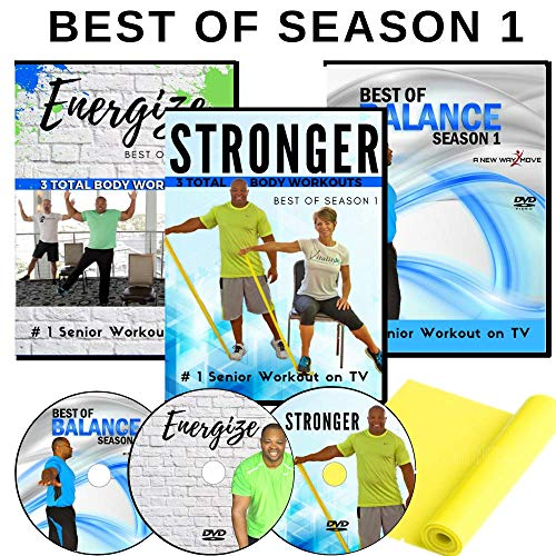 Exercise for Seniors DVDs, Season 1 Collection- 6 Total Body Workouts + 10 Express Balance Workouts + Resistance Band- Easy to Follow. Fun to do! You Will Love These Exercise DVDs for Seniors!