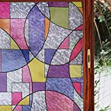 H.JWeDoo Window Film Static Privacy Decorative Non-Adhesive Window Film Frosted Tint Stained Glass Film Clings Glass Panel Sticker (Colorful, 17.7x78.7 inch)